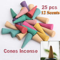 25pcs/pack Mix Stowage Colorful Fragrance Triple Scent Incense Cones Potpourri
