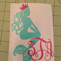 Mermaid crown decal or car, laptop, cup, cell phone, Yeti, iphone, notebook, tumbler, boots, rambler, cooler