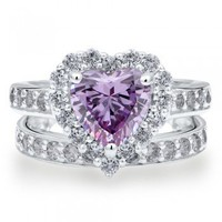 Sterling Silver 925 Heart Lavender Cubic Zirconia CZ 2pcs Ring Set #r608