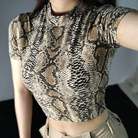 Sexy Crop Top Women Snake Print Tank Top Slim Primer High Collar Vest Crop Tank Top T Shirt Femme Girls Camis Tops