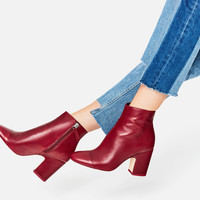 HIGH HEEL LEATHER ANKLE BOOTS WITH TOE CAP DETAILS