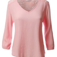 LE3NO Womens 3/4 Sleeve Loose Fit Blouse Top with Back Lace Detail (CLEARANCE)