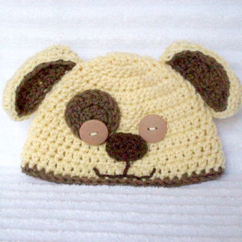 Baby puppy hat, newborn puppy beanie, crochet dog hat, newborn photo prop, puppy hat, newborn puppy hat, puppy photo prop, baby boy hat