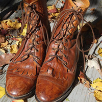 Vintage Brown Broken In Diamond J Western Lace Up Granny Style Roper Lacer Boots Ladies Size 7 M