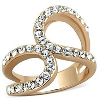 1.02 Ct Rose Gold Stainless Steel Crystal Ring