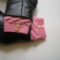 Soft Pink boot cuffs with wood button detail