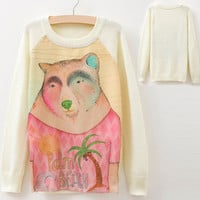 Beige Bear Printed Ribbed Trim Knit Pullover Sweater