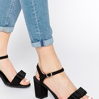 New Look Wide Fit Tie Black Barely There Mid Heeled Sandals