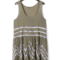Coffee Lace Insert Tank Dress-top
