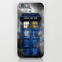 Haunted Halloween Blue phone Box oil painting iPhone & iPod Case by Greenlight8