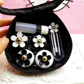 LIUSVENTINA DIY beautiful flower contact lens case for eyes contact lenses box for glasses spectacle case