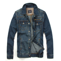 Men's Vintage Casual Denim Jacket Slim Jeans Outwear Dark Blue