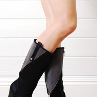 Bumper Jala03 Black Two Tone Knee High Boots shop Boots at MakeMeChic.com