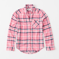 girls plaid button-up shirt | girls tops | Abercrombie.com