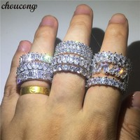 choucong 9 Styles Promise Finger ring 5A zircon Cz 925 Sterling silver Engagement Wedding Band Rings For Women Men bijoux Gift