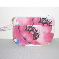 Fuschia pink white flower pattern cosmetic bag  beauty bag  pencil pouch or makeup bag