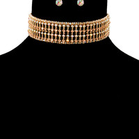 """15"""" crystal collar choker bib necklace earrings bridal pageant prom"""