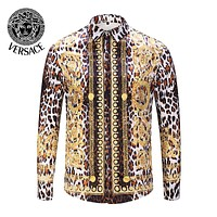 VERSACE Autumn Fashion Men Women Leisure Print Long Sleeve Lapel Shirt Top