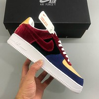 Nike Air Force 1 suede colorblock low-top casual sneakers shoes