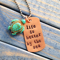 life is better by the sea copper and sea turtle necklace
