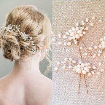 1 Piece Elegant Bridal Wedding Crystal Pearl Flower Hair Pins Charm Handmade Bridesmaid Bridal Veil Jewelry Hair Accessories