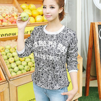 Printed Long Sleeve Knit T-shirt