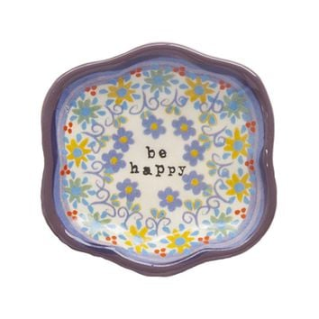 Be Happy Small Artisan Trinket Dish by Natural Life