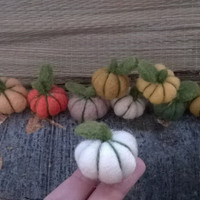 Small felt pumpkins for Fall, Autumn, Thanksgiving and Halloween home decor, fall colors