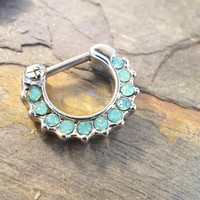 16 Light Mint Green Opalite Daith Hoop Clicker Septum Clicker Ring