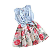 2015 Baby Girls Princess Dress Tutu Print Summer Denim Mini Dresses Casual Party