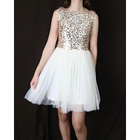 Sugar Plum Dazzling Sequin Darling Party Dress in Gold