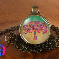 Tree of Life Watercolor Antique Vintage Necklace Pendant Jewelry Charm Art Gift