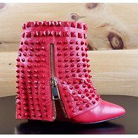 Lust for Life Battle Red Leather Studded Slip On Ankle Boot Size 8.5 SALE