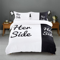Black & White Her Side His Side bedding sets Queen/King Size