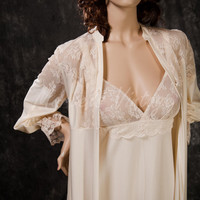 Vintage Alice Maloof Lingerie Rare Nightgown and Peignoir Set Luxurious Sleepwear Size Large