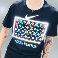 LV New Fashion Monogram Print Women Men Top T-Shirt Black