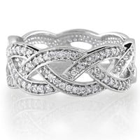 Sterling Silver Cubic Zirconia CZ Accent Woven Design Band Ring - Women`s Engagement Wedding Band Ring: Jewelry: Amazon.com