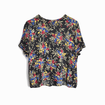 Vintage 90s Floral Boxy Blouse in Black Red Blue & Yellow - women's medium/large
