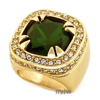 NEW MENS BIG CHUNKY GOLD PLATED RICH GANG EMERALD GREEN RING R020G