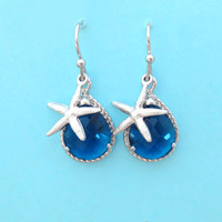 Navy, Starfish, Earrings, Mermaid, Earrings, Starfish, Jewelry, Mermaid, Jewelry, Gift, Simple, Birthday, Earrings, Silver, Starfish, Cute