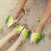 Fashion Casual Comfortable Sandals Shoes Women And Men Fish Type print Slippers G-PSXY