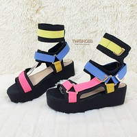"Pazzle 2"" Flatform Harness Strap Sandal Comfy New Shoe US 6-11 Black Multi"