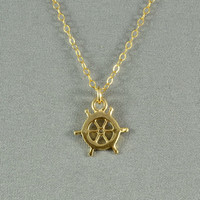 Tiny Ship Wheel Necklace, Gold Vermeil, 14K Gold Filled Chain, Modern, Simple, Cute, Everyday Wear Jewelry