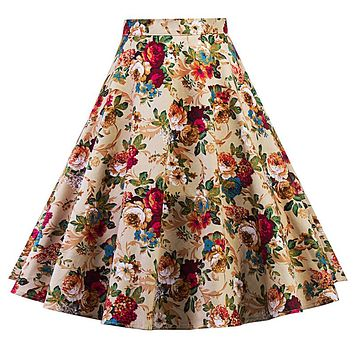 Summer Women Midi Pleated Skirts Vintage 50s 60s Flower Printed Ball Gown High Waist Flared Knee Length Skirts