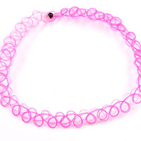 Tattoo Choker - Hot Pink