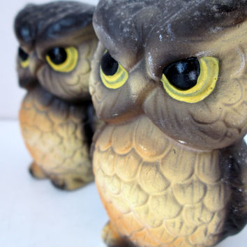 Vintage Owl Salt and Pepper Shakers Brown and Yellow Matte Finish