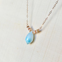 Natural, Ocean Blue Larimar Briolette Pendant Adorned with Pale Pink, Orange, and Yellow Sapphire Rondelles and Pearls in 14k Rose Gold Fill