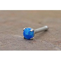 Blue Fire Opal Nose Ring Nose Stud