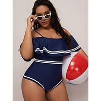 Plus Contrast Side Flounce One Piece Swimwear