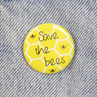 Save The Bees 1.25 Inch Pin Back Button Badge